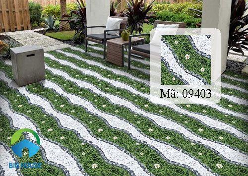 gạch sỏi prime màu trắng họa tiết cỏ