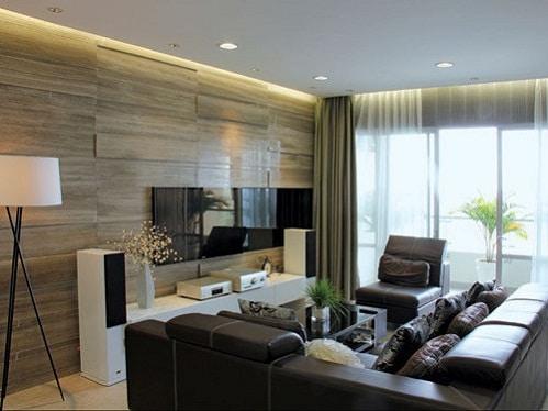 Gạch men ốp tường phòng khách với nhiều phong cách
