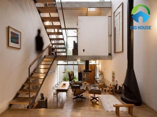 thiết kế cầu thang cho nhà ống lệch tầng