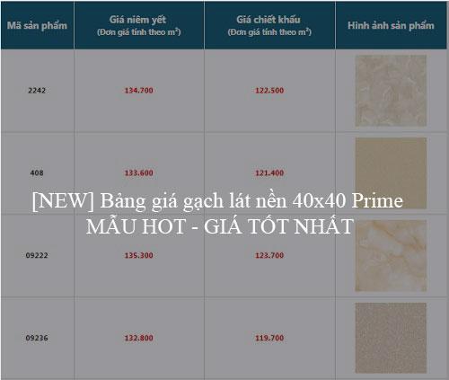 [NEW] Bảng giá gạch lát nền 40×40 Prime MẪU HOT – GIÁ TỐT NHẤT
