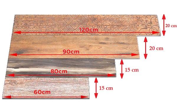 Các kích thước gạch ốp tường giả gỗ hiện đại