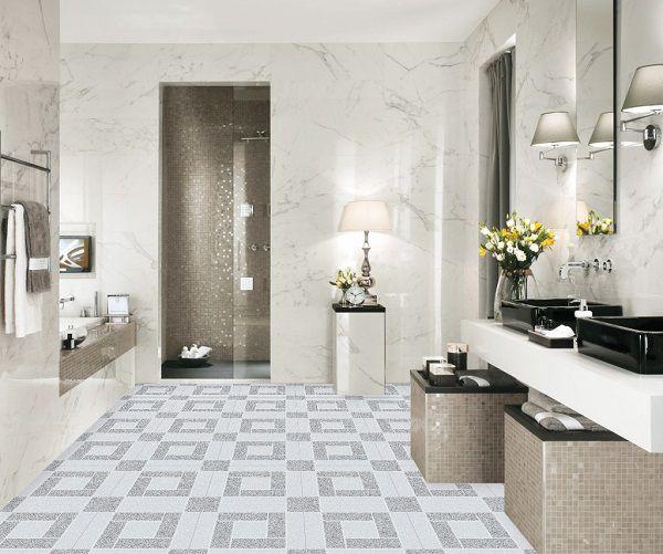 Phối cảnh nhà tắm với mẫu gạch lát nền 25x25