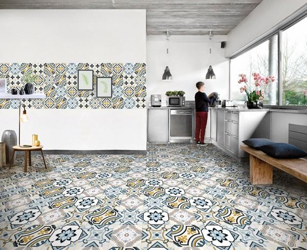 Sử dụng gạch bông 25x25 ốp lát trang trí căn bếp thêm độc đáo