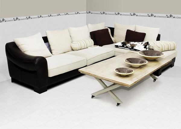 Mẫu gạch lát nền 25x25 có gam màu nhẹ nhàng tinh tế cho phòng khách