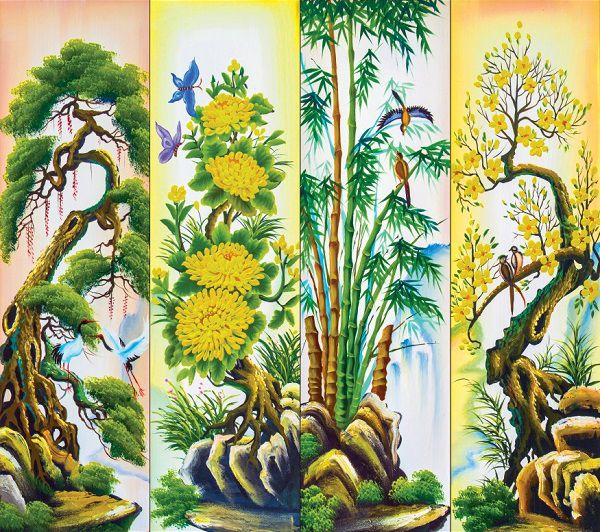 mẫu gạch tranh 3d tượng trưng cho sự đầy đủ sung túc