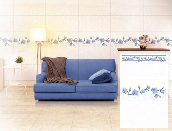 Gạch ốp tường phòng khách theo bộ với viền hoa xanh ấn tượng