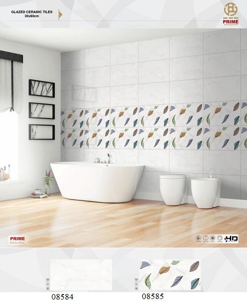 Mẫu gạch ốp tường nhà tắm màu trắng mang đến sự tươi sáng