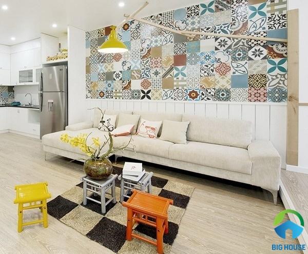 Phòng khách cá tính, ấn tượng với mẫu gạch bông đẹp mắt
