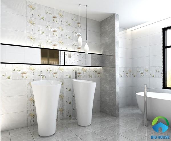 Sử dụng gạch điểm và gạch ốp để trang trí nhà vệ sinh thêm đẹp mắt