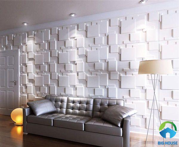 Mẫu gạch ốp 3D phòng khách Đẹp mắt