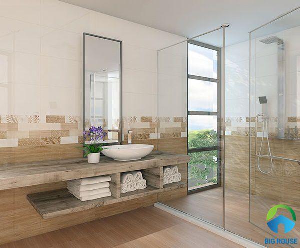 các loại gạch ốp tường trang trí nhà tắm vân gỗ