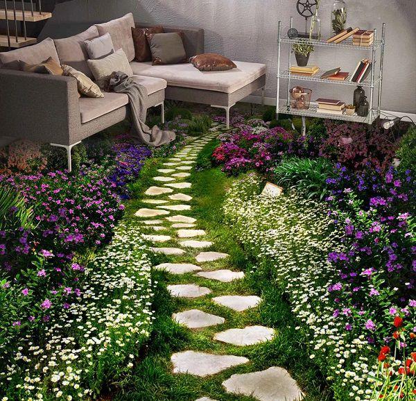 Không gian phòng khách đẹp mắt, gần gũi tự nhiên với mẫu gach hoa cỏ