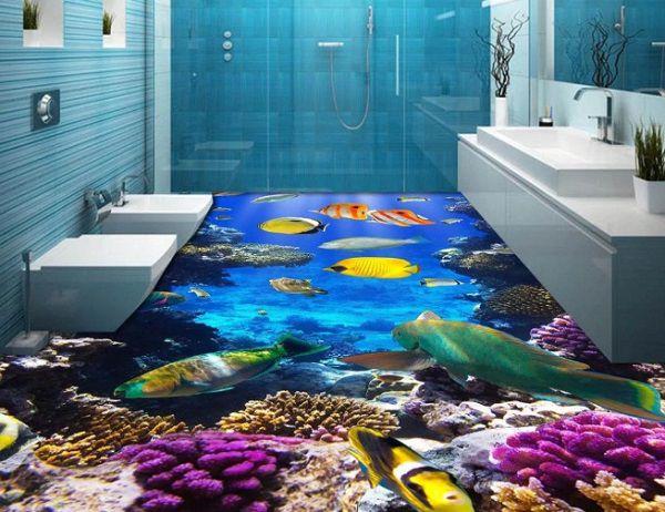 Nhà tắm tươi mới với không gian dưới đáy đại dương