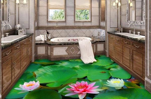 Hồ sen rực rỡ giúp nhà tắm đẹp mắt, ấn tượng
