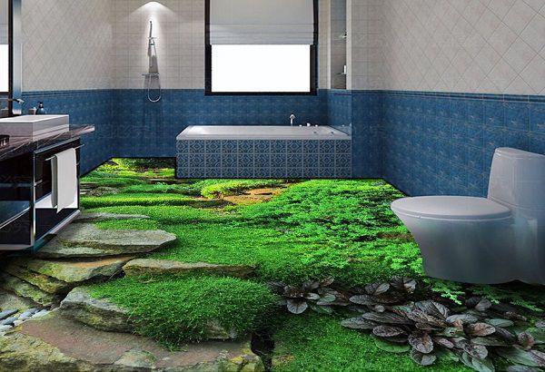 Phòng tắm hòa hợp thiên nhiên với mẫu gạch thảm cỏ tươi mát