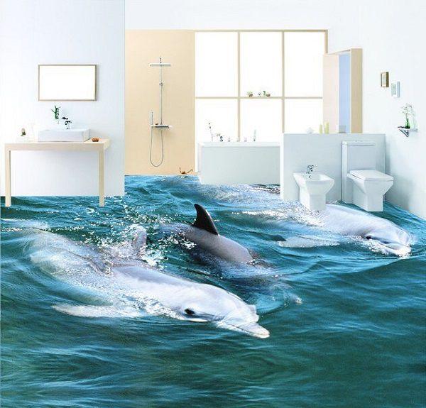 Gạch 3d lát nền nhà tắm cá heo độc đáo