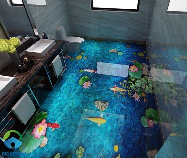 Mẫu gạch 3d lát nhà tắm độc đáo