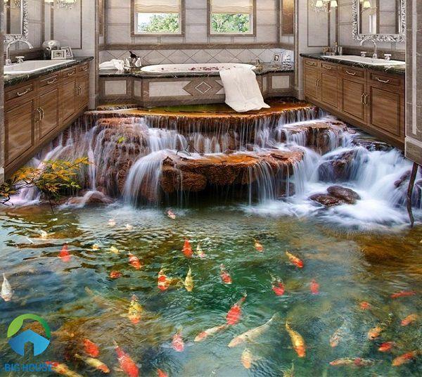 gạch 3d lát nhà tắm độc đáo