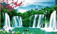 Quang cảnh thiên nhiên hùng vĩ với mẫu gạch 3d thác nước