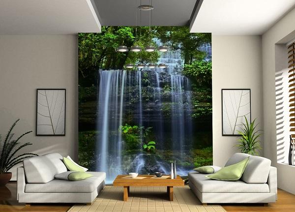 Tranh gạch 3D cảnh thác nước cho không gian phòng khách trở nên ấn tượng, độc đáo hơn