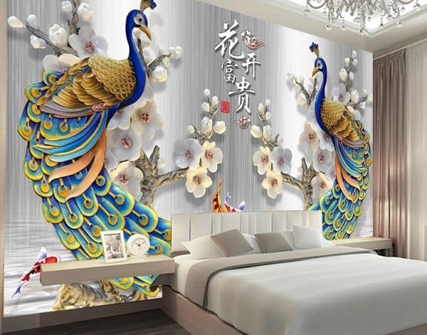 gạch 3d ốp phòng ngủ lứa đôi