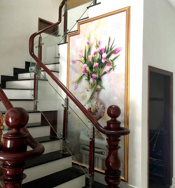 gạch 3d ốp trang trí vách cầu thang