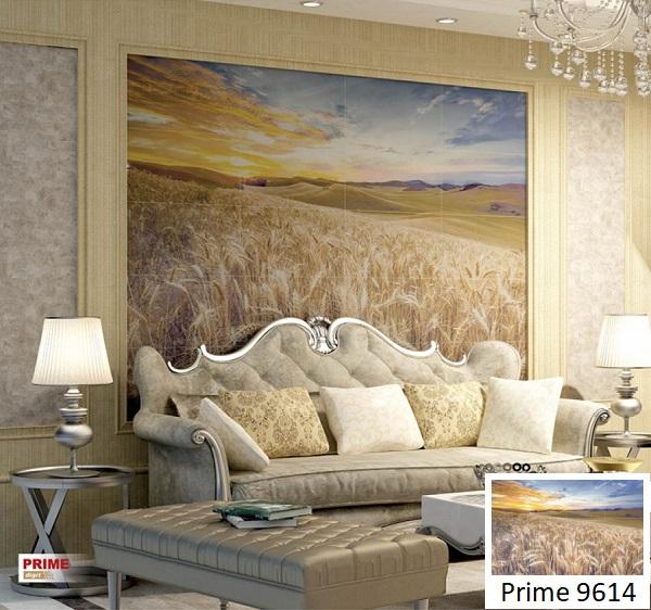 Không gian phòng khách mang vẻ đẹp sang trọng khi được trang trí bởi mẫu gạch 3D phong cảnh Prime 9614