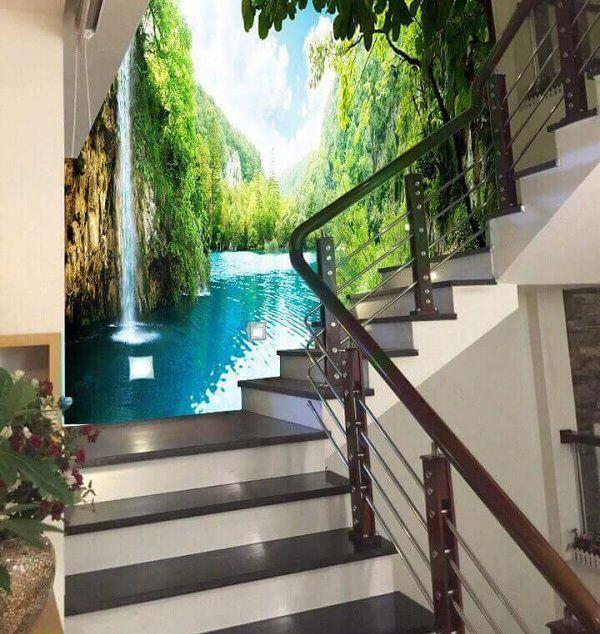 gạch 3d ốp tường cầu thang