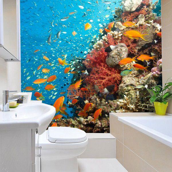 Phòng tắm ngập tràn trong quang cảnh đại dương với mẫu gạch 3D độc đáo