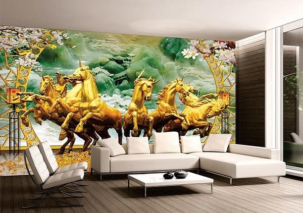 Mã đáo thành công là mẫu gạch 3D trang trí phòng khách rất được ưa chuộng