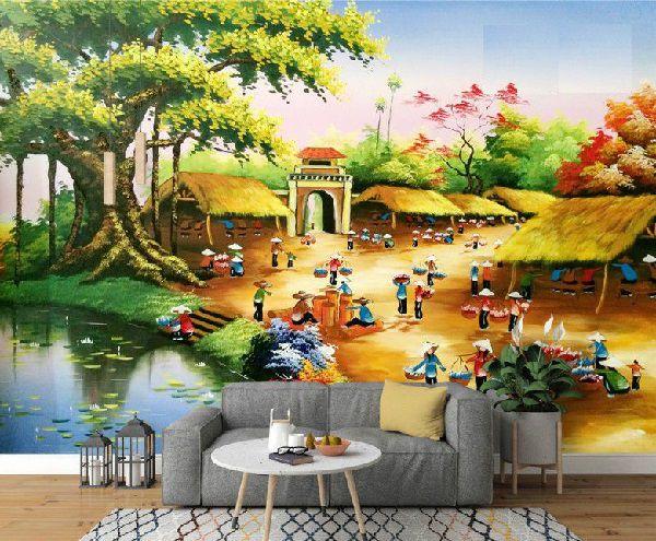 gạch 3d phong cảnh làng quê