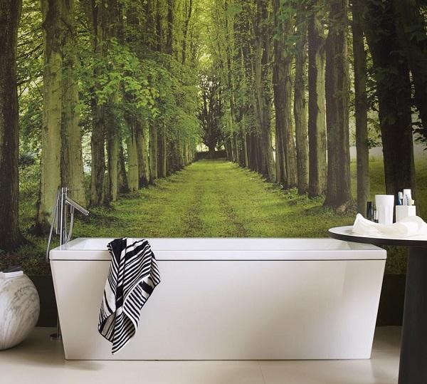gạch tranh 3d phong cảnh rừng cây yên bình