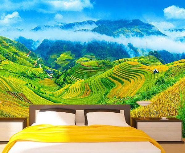 tranh gạch 3d phong cảnh ruộng bậc thang đẹp mắt