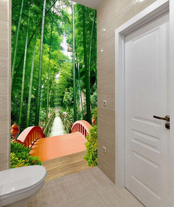 Mẫu gạch 3d rừng trúc ốp nhà tắm giúp mở rộng không gian hiệu quả