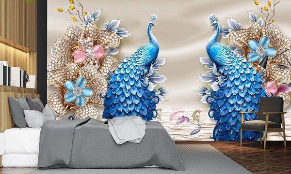 Mẫu gạch 3D Chim công đính ngọc đẹp nổi bật với sắc xanh biếc như màu của nền trời.