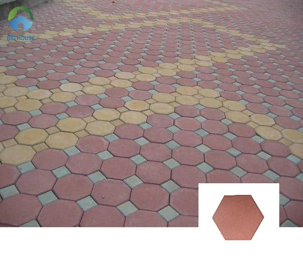 Bạn cũng có thể lựa chọn mẫu gạch block lục giác lát vỉa hè đỏ rất cuốn hút
