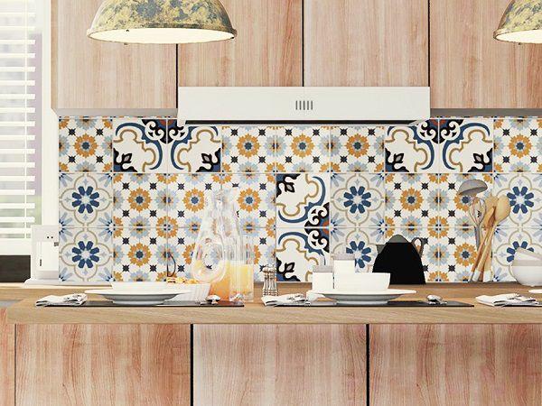 Gạch bông 20x20 đa sắc được ứng dụng để ốp trang trí tường nhà bếp