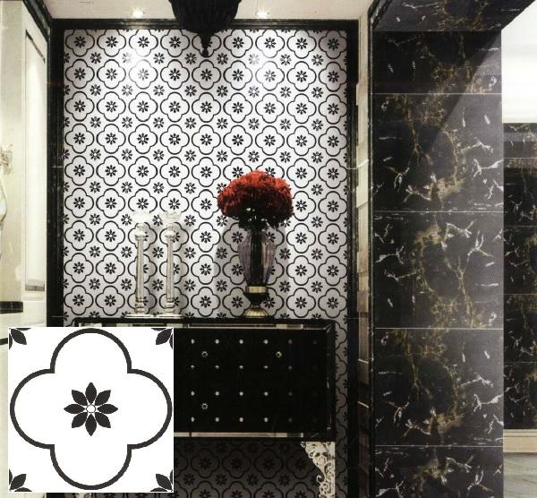 Mẫu gạch bông họa tiết hoa đen - trắng A3030