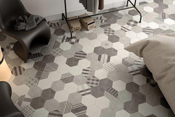 Sàn phòng ngủ cũng là một không gian phù hợp để ứng dụng gạch bông lục giác cổ điển