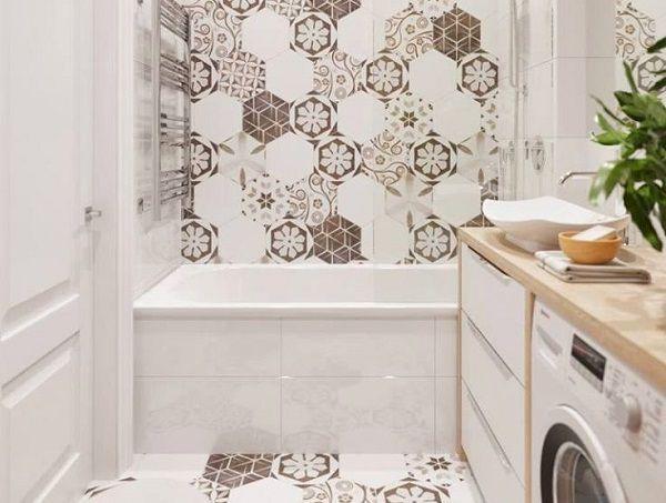 gạch bông lục giác ốp tường nhà tắm cổ điển