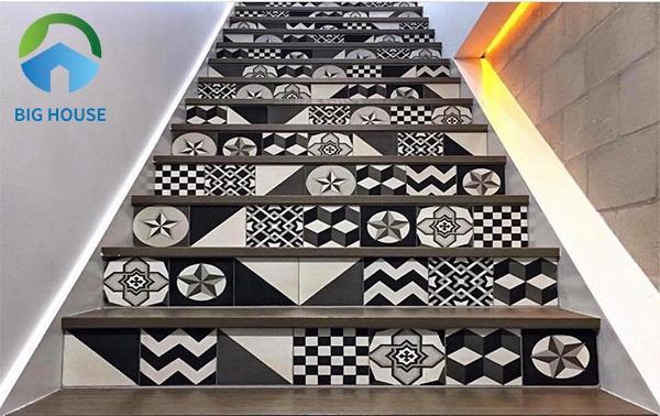 gạch bông trang trí cầu thang 1