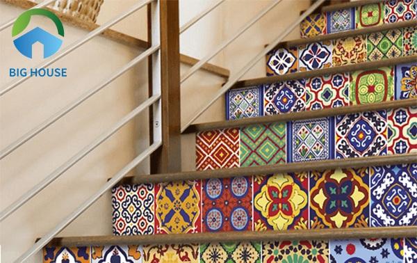 gạch bông trang trí cầu thang 2