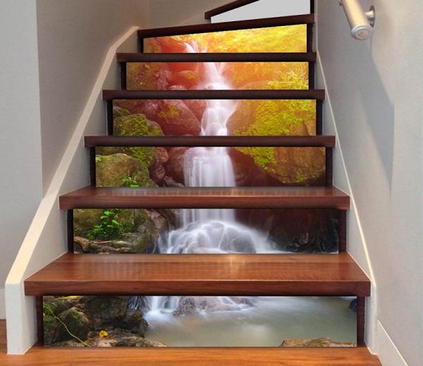 gạch cầu thang 3d thác nước
