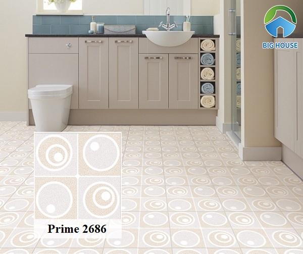 Gạch lát nền Prime 2686 họa tiết hình khối cho nhà vệ sinh thêm sinh động và ấn tượng