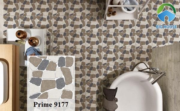 Mẫu gạch Prime 9177 giả sỏi đa sắc màu rất bắt mắt lát nền nhà vệ sinh. Gạch có bề mặt nhám, định hình và hiệu ứng đá quý thu hút
