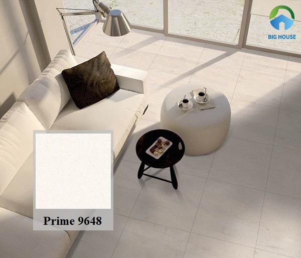 Mẫu gạch Prime 9648 có gam màu kem nhẹ nhàng, ưa nhìn. Tuy nhiên, các họa tiết vân đá độc đáo lại tạo điểm nhấn ấn tượng cho mã gạch này