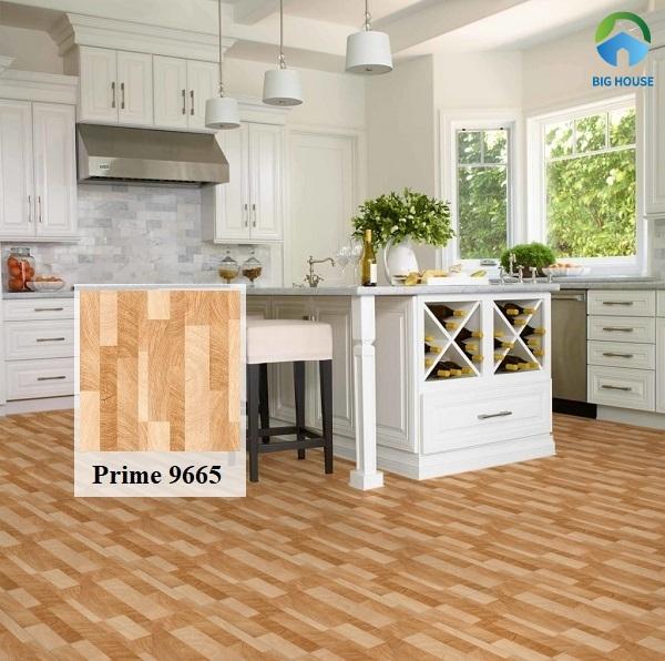 Gạch lát nền Prime giả gỗ 9665 mang đến vẻ ấm cúng cho không gian bếp nhà bạn
