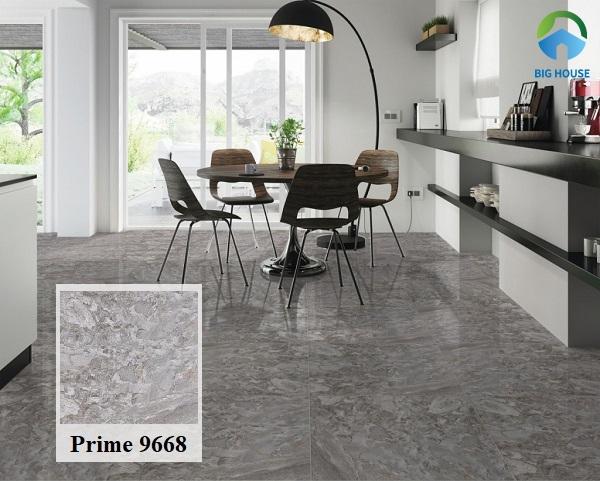 Thêm một mẫu gạch Prime 9668 men bóng họa tiết vân đá tạo vẻ đẹp sống động cho không gian. Gạch sở hữu một gam màu trung tính rất phù hợp với không gian mang phong cách hiện đại