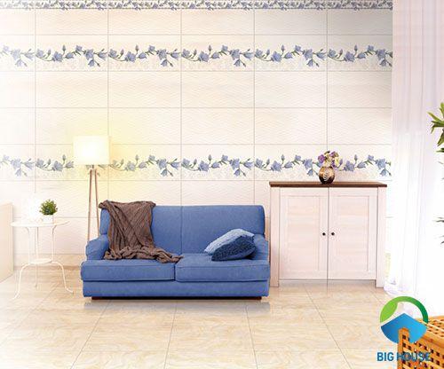 mẫu gạch điểm ốp tường phòng khách đẹp