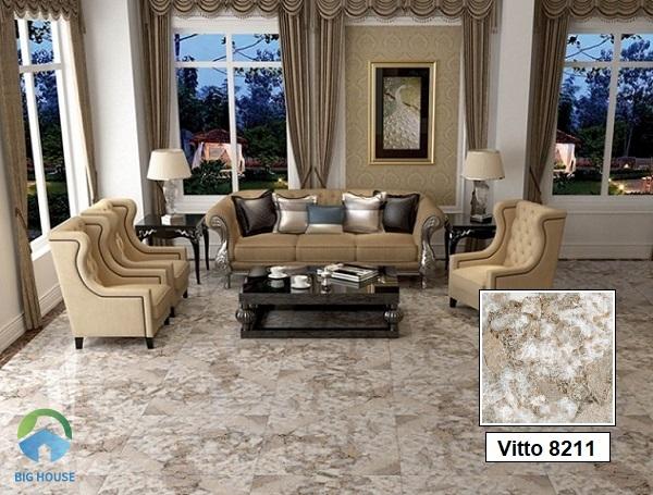 Để không gian phòng khách tạo sự khác biệt, mới lạ, hãy tham khảo mẫu gạch Vitto 8211